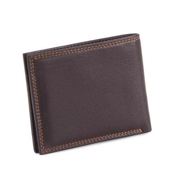 Style n Craft 300720-BR Slim bi-fold wallet in brown top grain leather - closed back view