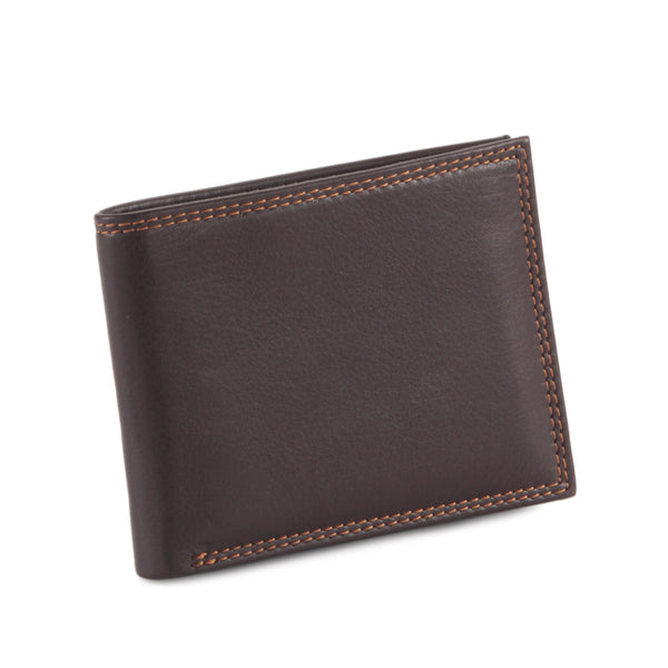Style n Craft 300720-BR Slim bi-fold wallet in brown top grain leather - closed front view