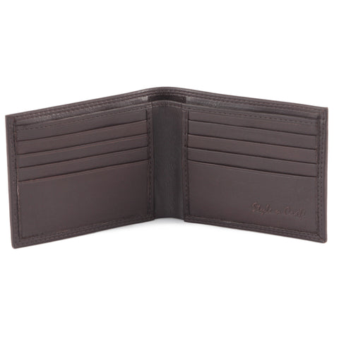 Style n Craft 300720-BR Slim bi-fold wallet in brown top grain leather - open view