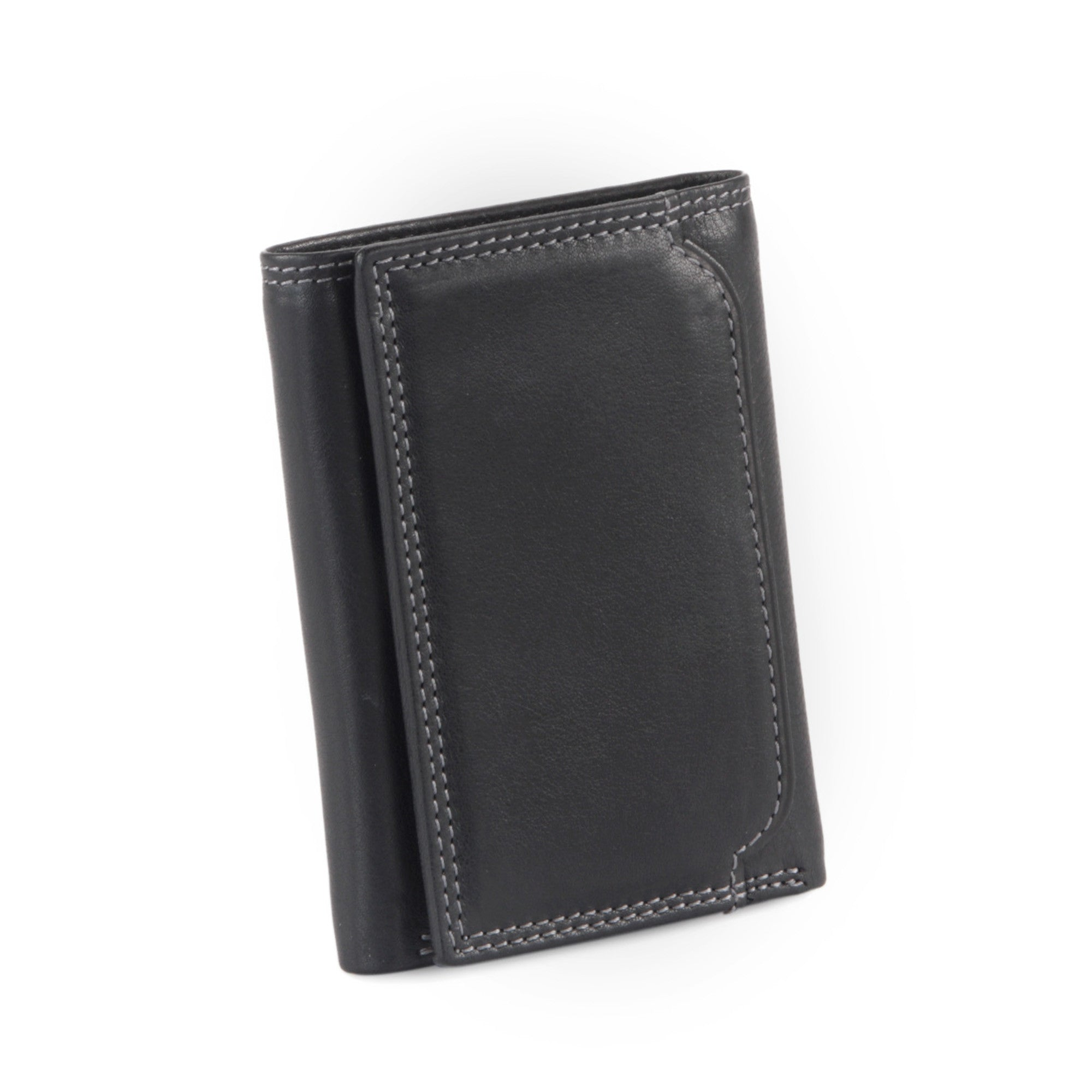 Style n Craft 300790-BL Trifold Wallet in Leather - black color - closed front view