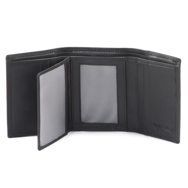 Style n Craft 300790-BL TriFold Wallet in Leather - black color - open view - 2