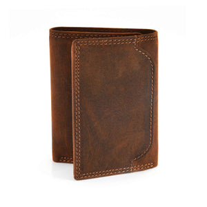 Style n Craft 300790-BR Trifold Wallet in Leather - brown color - closed view - front