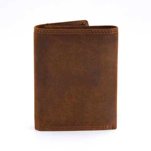Style n Craft 300790-BR Trifold Wallet in Leather - brown color - closed view - back