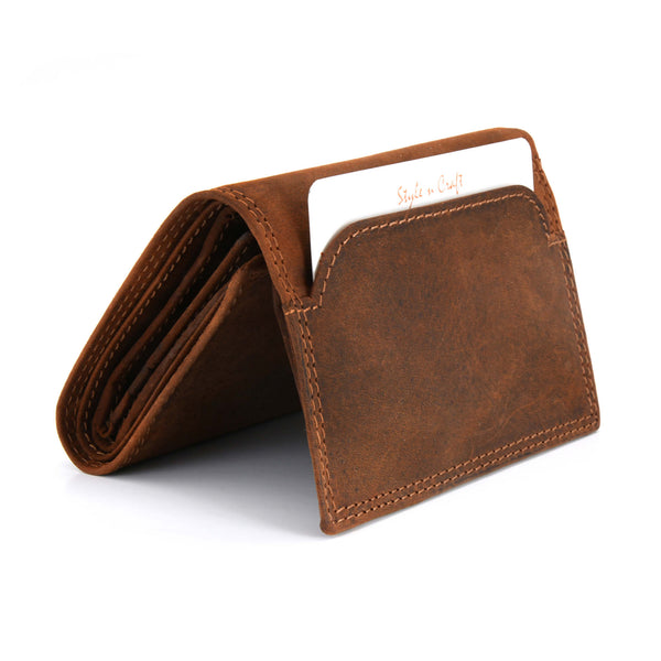 Style n Craft 300790-BR Trifold Wallet in Leather - brown color - closed view - front angled view showing outside pocket