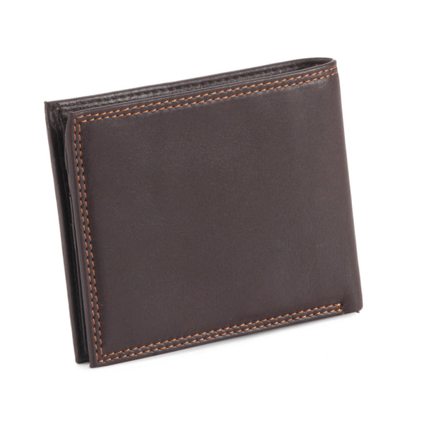 Style n Craft 300796-BR Bi-Fold PassCase Wallet with Flap in Top Grain Leather - brown color - closed view back
