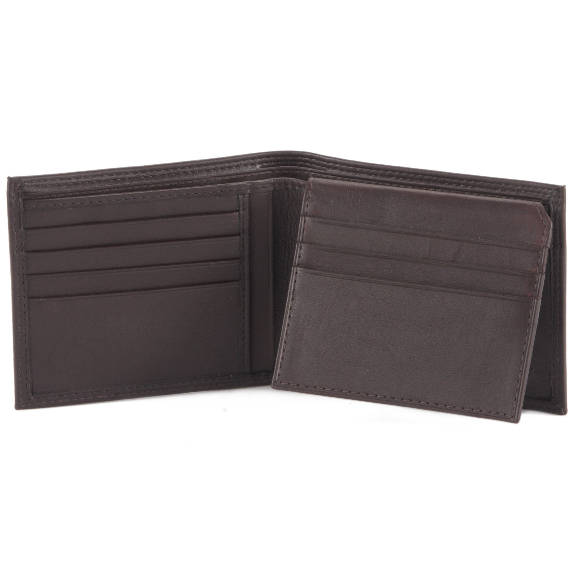Style n Craft 300796-BR Bi-Fold PassCase Wallet with Flap in top Grain Leather - brown color - open view 1