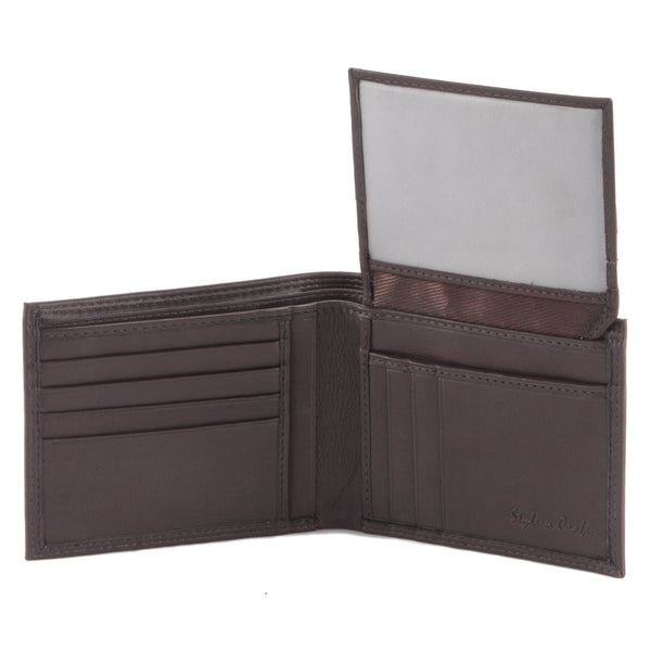 Style n Craft 300796-BR Bi-Fold PassCase Wallet with Flap in Top Grain Leather - brown color - open view 2