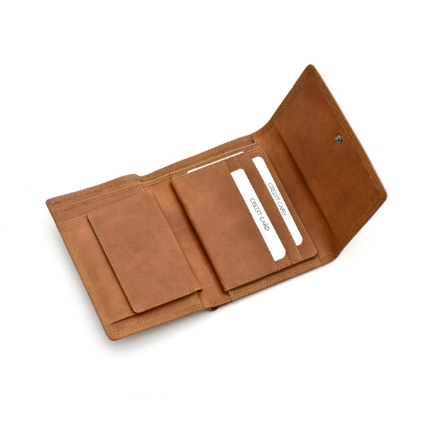 Style n Craft 300799-CG Ladies Trifold Leather Wallet with Snap Button Closure - Cognac Color - Open Angled View 1