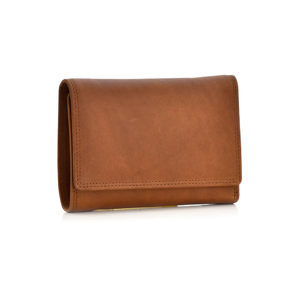 Style n Craft 300799-CG Ladies Trifold Leather Wallet with Snap Button Closure - Cognac Color - Front View Closed