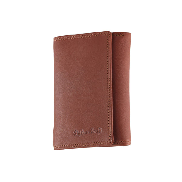 Style n Craft 300799-CG Ladies Trifold Leather Wallet with Snap Button Closure - Cognac Color - Front Angled View Closed
