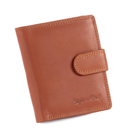 Style n Craft - 300952-CG Small Clutch Wallet for Ladies in Leather - tan or cognac color - closed view front