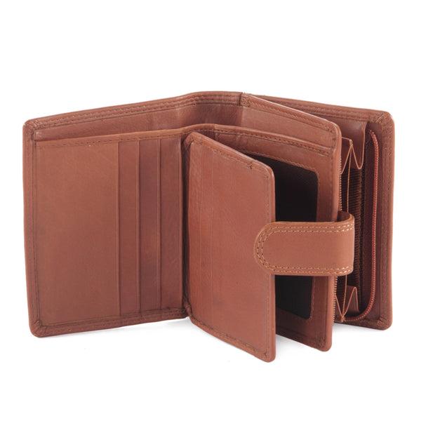 Style n Craft 300952-CG Small Clutch Wallet for Ladies in Leather - tan or cognac color - open view 1