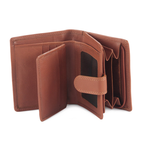 Style n Craft - 300952-CG Small Clutch Wallet for Ladies in Leather - tan or cognac color - open view 2