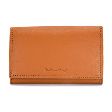Style n Craft 300953-CG Ladies Clutch Wallet in Leather in Tan Color with RFID Protection - Front closed View