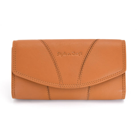 Style n Craft 300954-CG Clutch Wallet for Ladies in Cow Leather - Tan Color - Front Closed View