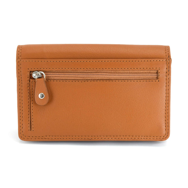 Style n Craft - 300956 Ladies Clutch Wallet in Leather - tan color - closed view back
