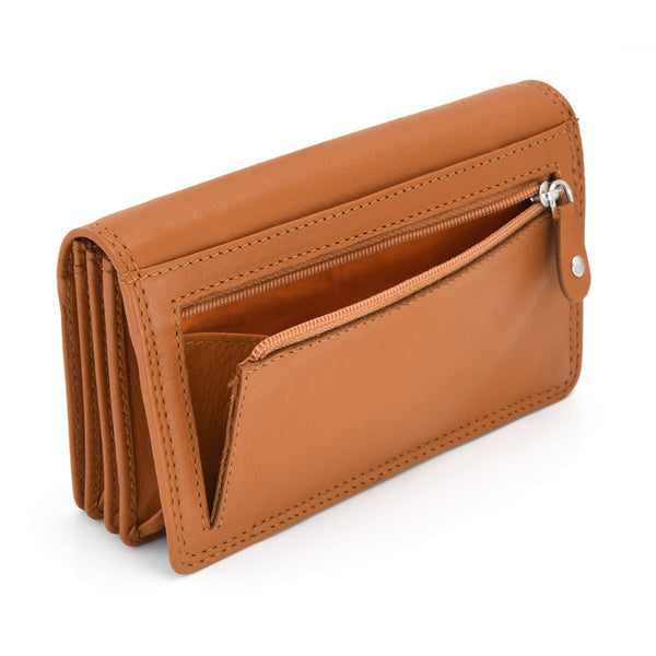 Style n Craft - 300956 Ladies Clutch Wallet in Leather - tan color - angled back view showing zipper pocket