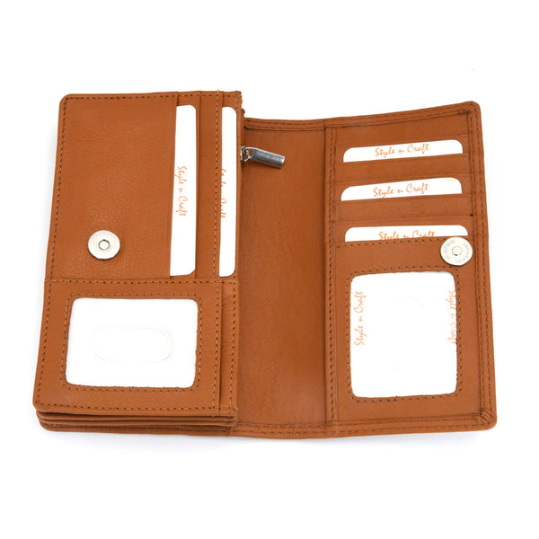 Style n Craft - 300956 Ladies Clutch Wallet in Leather - tan color - open straight view