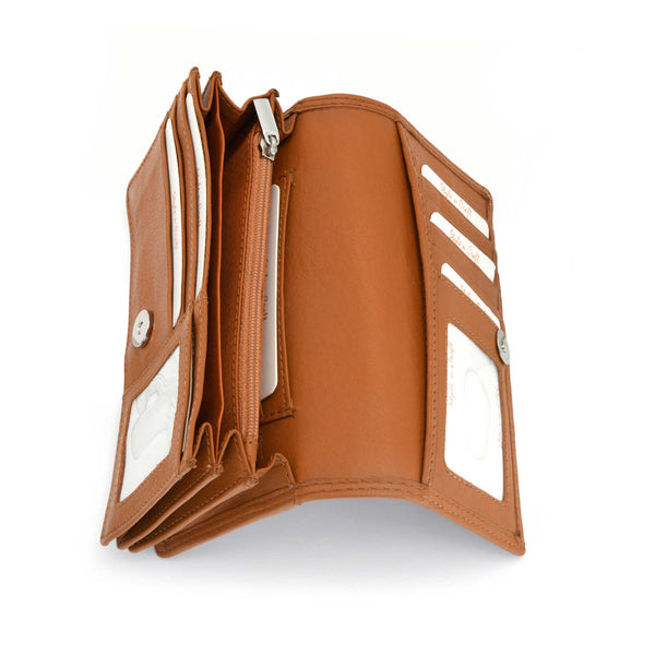 Style n Craft - 300956 Ladies Clutch Wallet in Leather - tan color - open view showing interior pockets