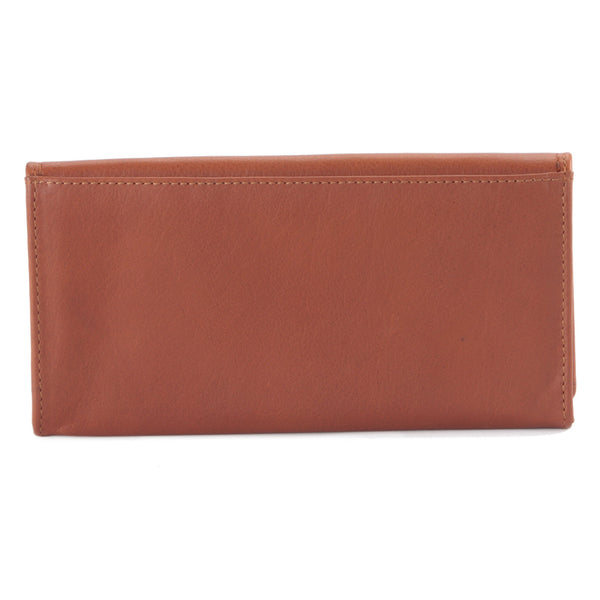 Ladies Clutch Wallet in Cow Leather - cognac or tan color - closed view back
