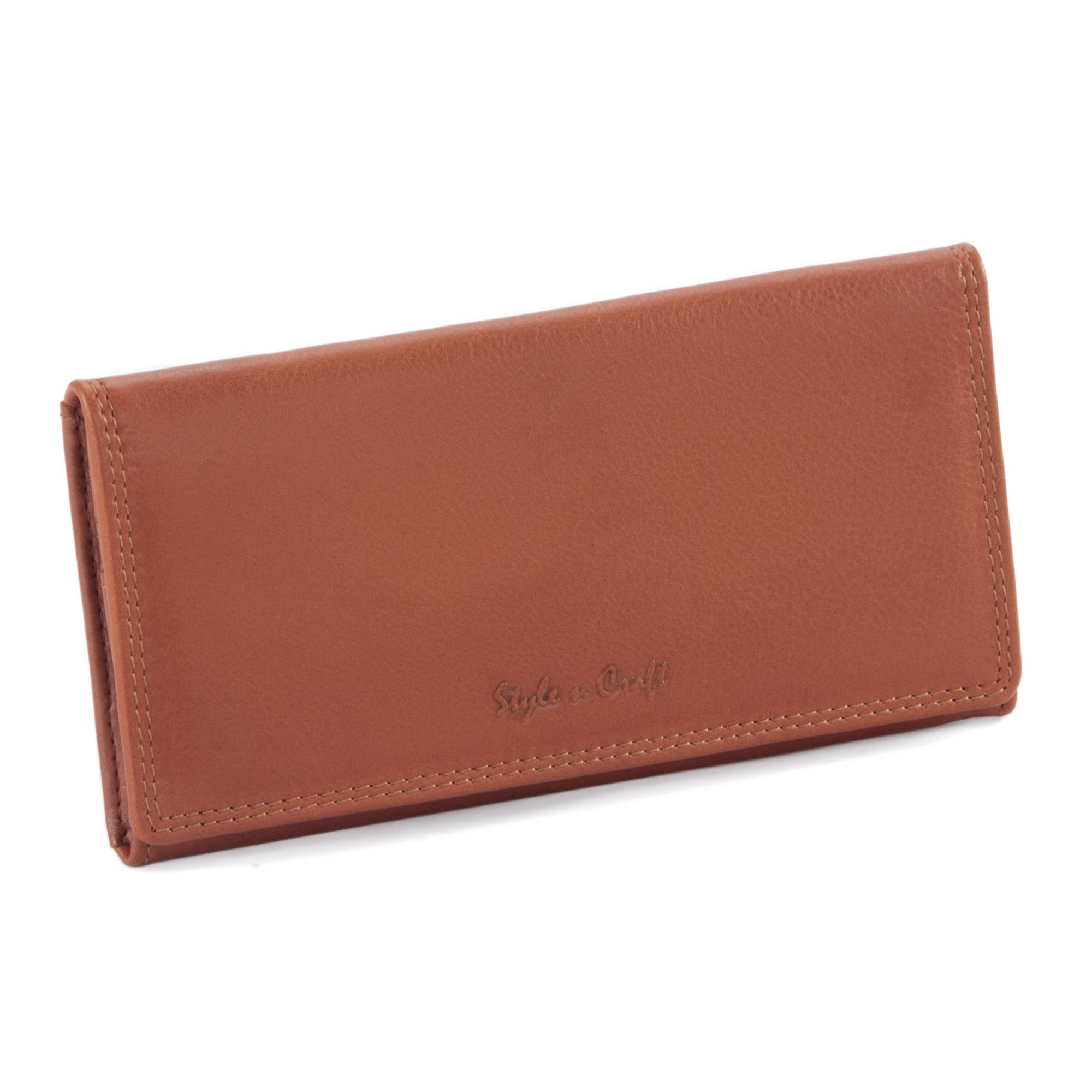 Style n Craft - 300965-CG Ladies Clutch Wallet in Leather - cognac or tan color - closed view front