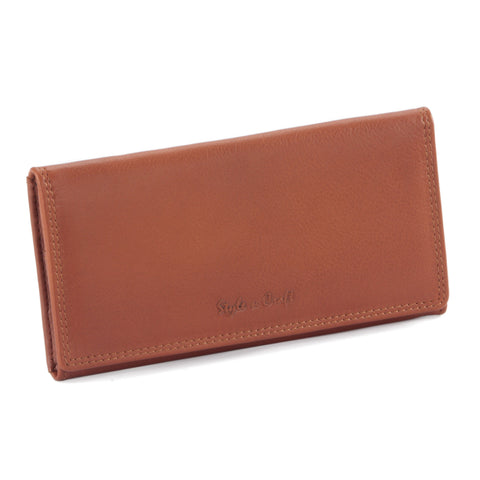 300965-CG Ladies Leather Clutch Wallet in Tan | Style n Craft