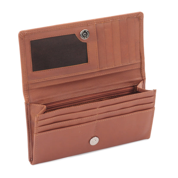 Ladies Clutch Wallet in Cow Leather - cognac or tan color - open view