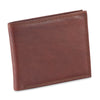 301722 slim bifold wallet in dark tan or brandy color cow leather with 2 tone effect - closed view