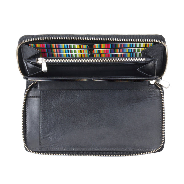 Style n Craft 301900-BL Zippered Travel Organizer in Black Leather - front open 2