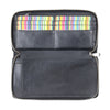 Style n Craft 301900-BL Zippered Travel Organizer in Black Leather - front open 3