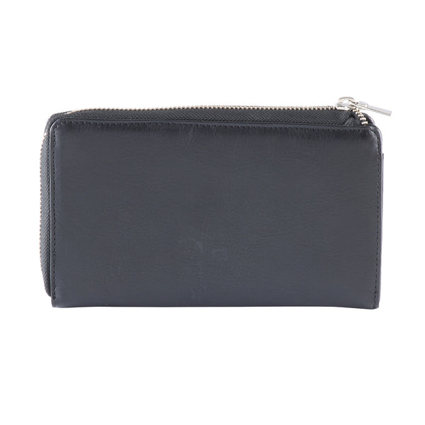 Style n Craft 301966-BL Ladies Zippered Clutch Wallet in Black Cow Leather - back closed