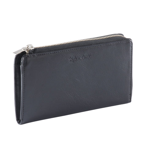 301966-BL Ladies Zippered Leather Clutch Wallet in Black | Style n Craft