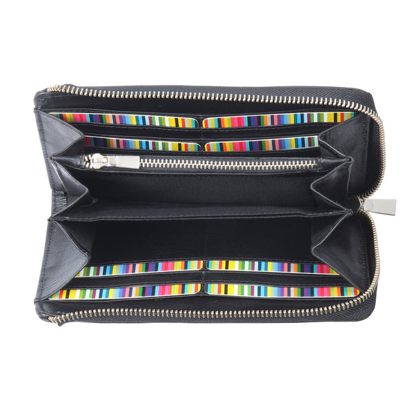 Style n Craft 301966-BL Ladies Zippered Clutch Wallet in Black Cow Leather - front open 2