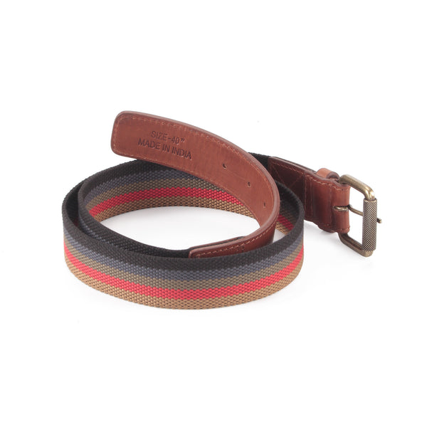 390190 - One and a Half Inch Wide Leather Webbing Combination Belt - brandy color leather - back view