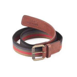 390190 - One and a Half Inch Wide Leather Webbing Combination Belt - brandy color leather - front view