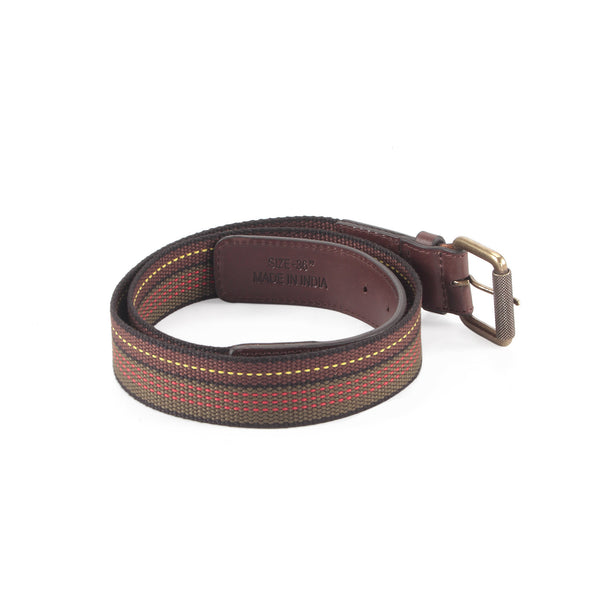 390306 - One and a Half Inch Wide Leather Webbing Combination Belt - brown color leather - back view