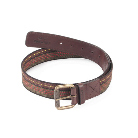 390306 - One and a Half Inch Wide Leather Webbing Combination Belt - brown color leather - front view