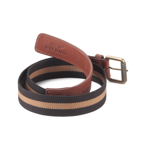 390343 - One and a Half Inch Wide Leather Webbing Combination Belt - brandy / tan color leather - back view