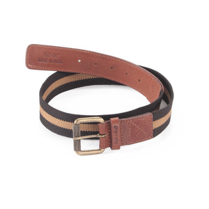390343 - One and a Half Inch Wide Leather Webbing Combination Belt - brandy / tan color leather - front view