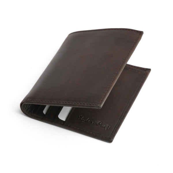Style n Craft 391002 Slim Bifold Hipster Leather Wallet in Dark Brown Color - Closed Angled View Front