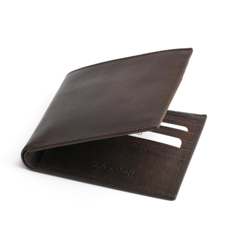 Style n Craft 391003 Bi-Fold Hipster Wallet in Dark Brown Top Grain Leather - Closed Angled View Front