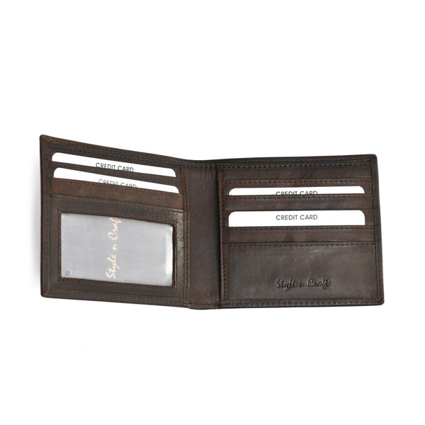 Style n Craft 391003 Bi-Fold Hipster Wallet in Dark Brown Top Grain Leather - Open View