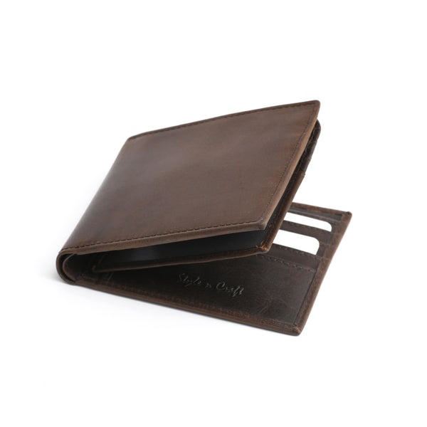 Style n Craft 391004 Bi-Fold PassCase Wallet with Flap in Dark Brown Top Grain Leather - Closed View Front