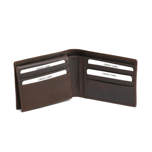 Style n Craft 391004 Bi-Fold PassCase Wallet with Flap in Dark Brown Top Grain Leather - Open View