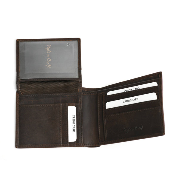 Style n Craft 391004 Bi-Fold PassCase Wallet with Flap in Dark Brown Top Grain Leather - Open View showing Pockets & ID Window under Flap