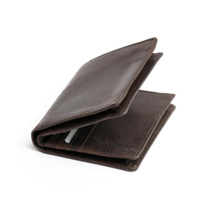 Style n Craft 391006 Bifold Hipster Leather Wallet with Back Zipper in Dark Brown Color - Closed Angled View Front