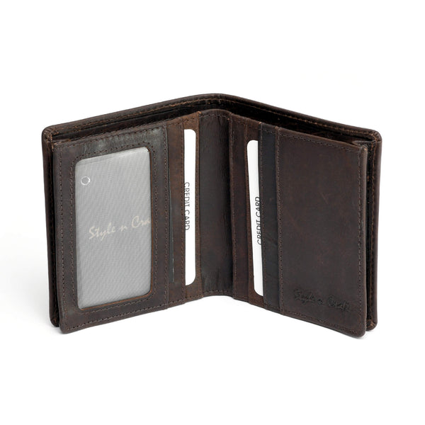 Style n Craft 391006 Bifold Hipster Leather Wallet with Back Zipper in Dark Brown Color - Open View