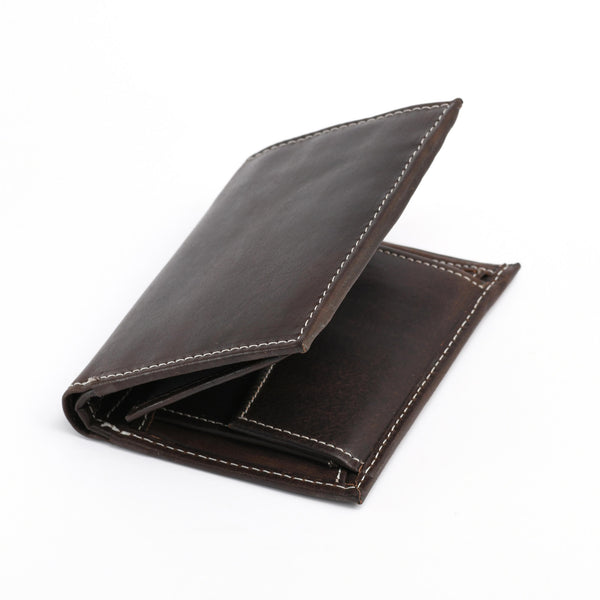 Style n Craft 391007 Bifold Hipster Leather Wallet with Inside Center Zipper, Left Flap & Coin Pocket in Dark Brown Color - Closed Angled View Front