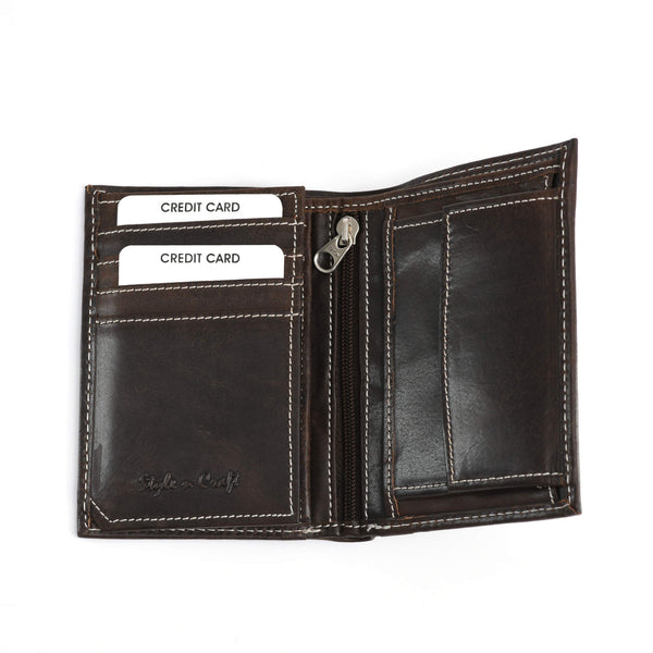 Style n Craft 391007 Bifold Hipster Leather Wallet with Inside Center Zipper, Left Flap & Coin Pocket in Dark Brown Color - Open View