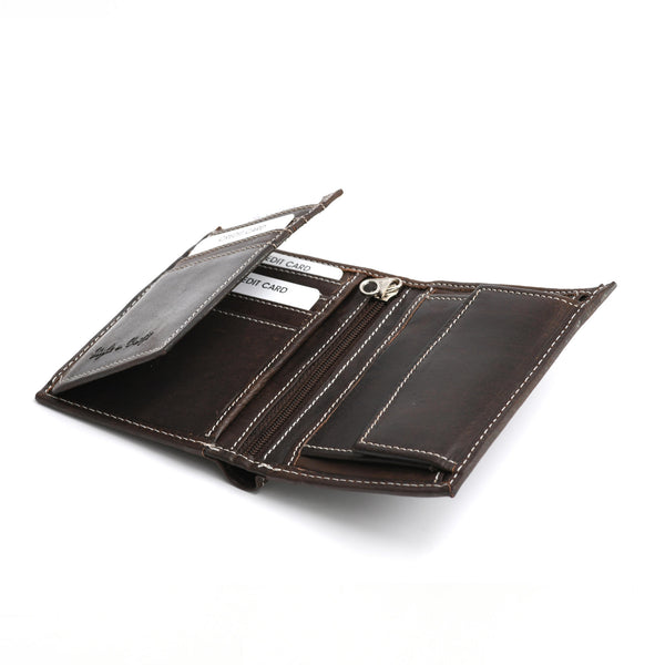 Style n Craft 391007 Bifold Hipster Leather Wallet with Inside Center Zipper, Left Flap & Coin Pocket in Dark Brown Color - Open Angled View